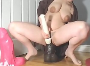 Wrecking Her Pussy With Giant BBC Dildo